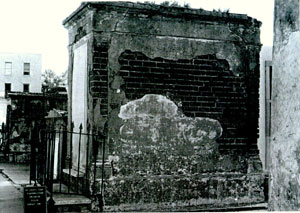 Perrault Tomb before restoration, side view